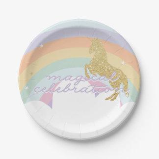 Magical Unicorn Rainbow Birthday Plate