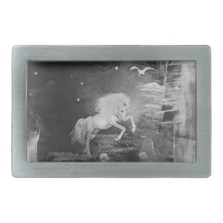 magical unicorn rectangular belt buckle