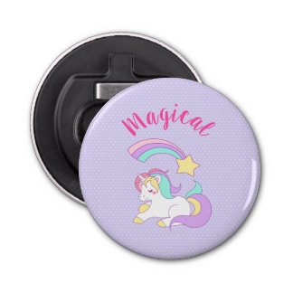 Magical Unicorn with Rainbow Shooting Star Bottle Opener