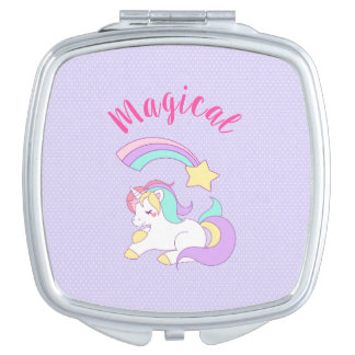 Magical Unicorn with Rainbow Shooting Star Compact Mirror