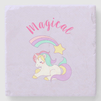 Magical Unicorn with Rainbow Shooting Star Stone Coaster