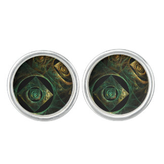 Magical Vibrations Abstract Art Silver Plated Cufflinks