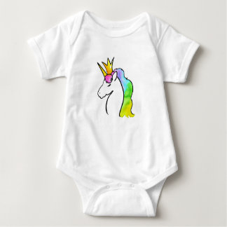Magical Watercolor Unicorn with Crown Baby Bodysuit