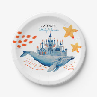 Magical whale in watercolor paper plate