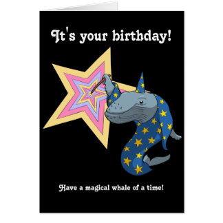 Magical Whale of a Time Wizard Whale Cartoon Greeting Card