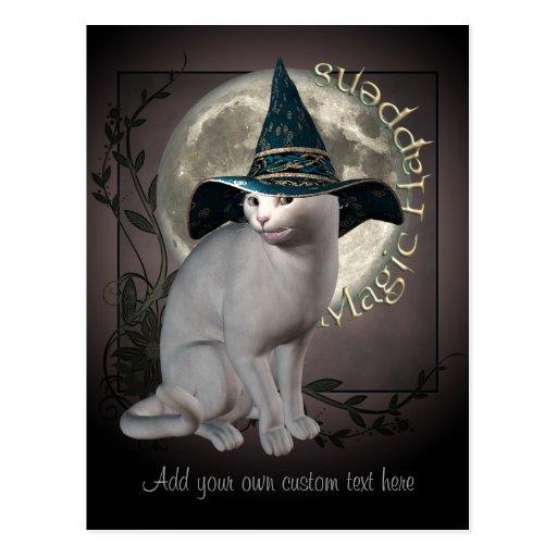 Magical White Cat Postcard