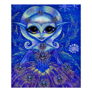 Magical Winter Fairy Girl Cats Snowflakes Big Eyes Poster