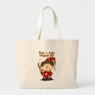 magical wizard little boy in a red robe jumbo tote bag