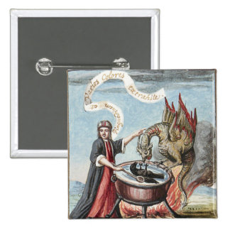Magician and Dragon at the Cauldron of Alchemy 15 Cm Square Badge