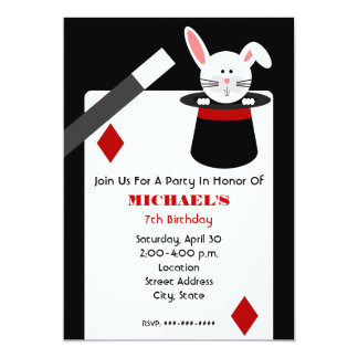 Magician Birthday - Rabbit in Hat & Playing Card Announcements
