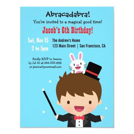 magician boy kids magic birthday party invitation zazzle co uk
