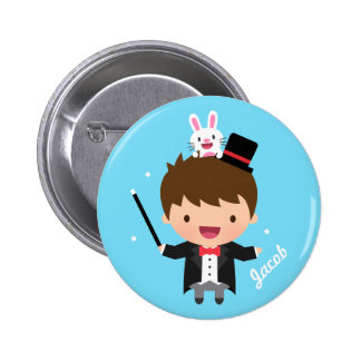 Magician Boy Magic Bunny Trick For Kids 6 Cm Round Badge