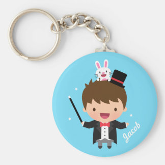 Magician Boy Magic Bunny Trick For Kids Basic Round Button Key Ring