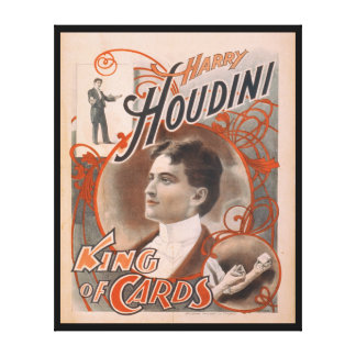 Magician Harry Houdini The King Of Cards Stretched Canvas Prints