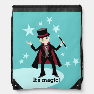 Magician kid birthday party drawstring backpacks