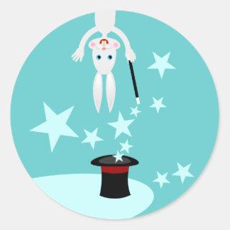 Magician kid birthday party round sticker