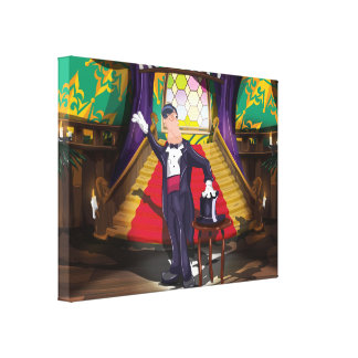 Magician performing magic trick on stage gallery wrap canvas