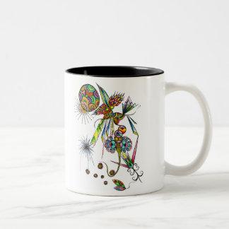 Magician - psychedelic abstract magic art Two-Tone coffee mug