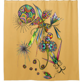 Magician - psychedelic character magic moon & sun shower curtain