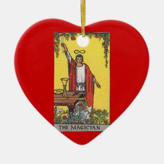 Magician tarot card image ceramic heart decoration