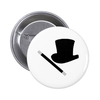 magician top hat and magic wand 6 cm round badge