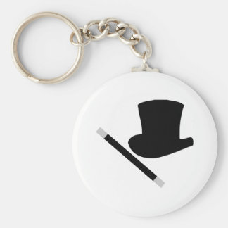 magician top hat and magic wand key ring