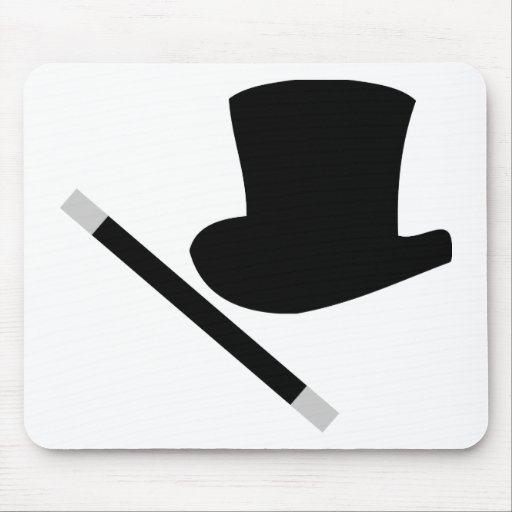 magician top hat and magic wand mouse pad