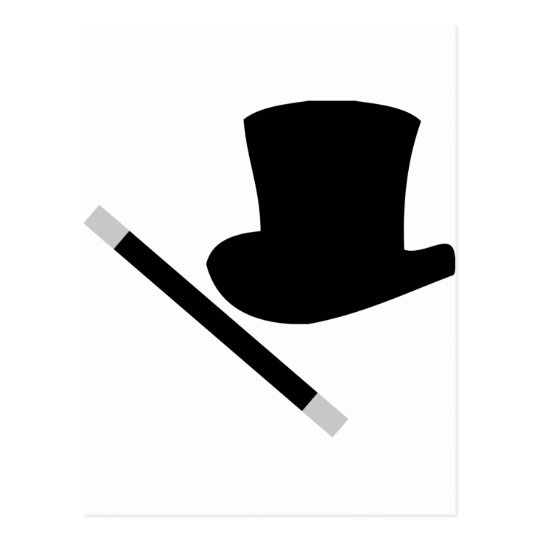 magician top hat and magic wand postcard