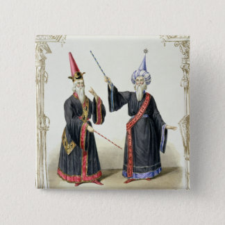 Magicians at the Carnival in Berlin, 1836 (colour 15 Cm Square Badge