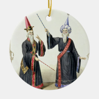Magicians at the Carnival in Berlin, 1836 (colour Round Ceramic Decoration