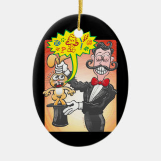 Magician's bunny feeling mad and saying bad words christmas ornament