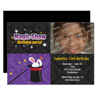 Magician's Rabbit Birthday Party Card