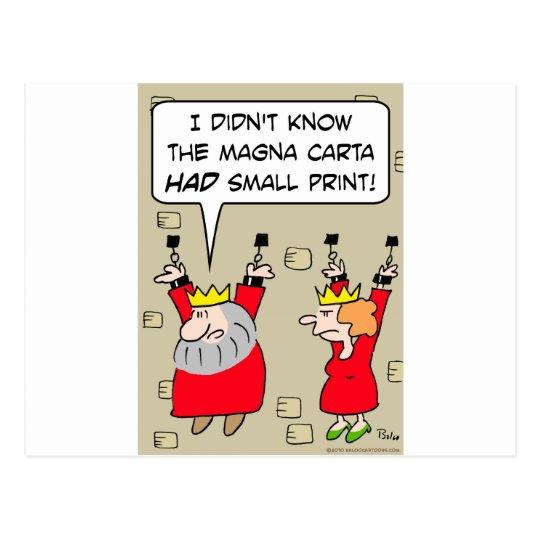 magna carta small print king chains postcard