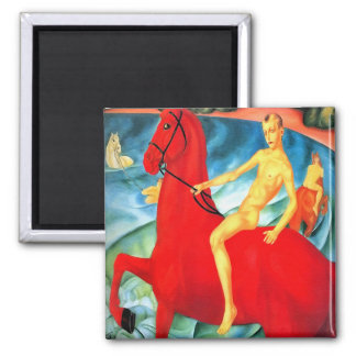 """Magnet: """"Bathing the Red Horse"""" Square Magnet"""