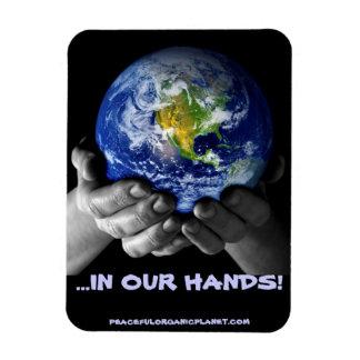 MAGNET-EARTH HANDS RECTANGULAR PHOTO MAGNET