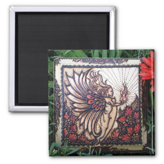Magnet: Fire Fairy Henna on Wood Square Magnet