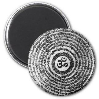 magnet, fridge,india, om mani padme hum,mantra 6 cm round magnet