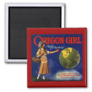 MAGNET ~ OREGON GIRL VINTAGE APPLE CRATE LABEL AD!