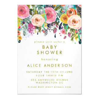 magnet painted floral baby shower invite magnetic invitations