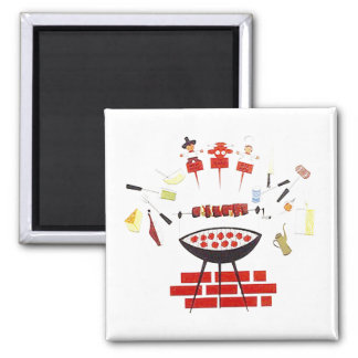 Magnet ~ RETRO Mid-Century Barbecue grill-out
