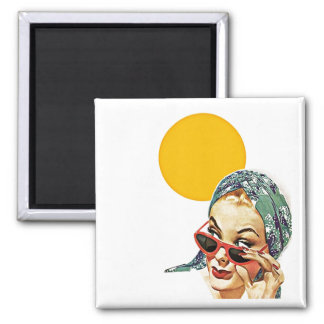 Magnet ~ RETRO Stylish Lady behind Red Sunglasses