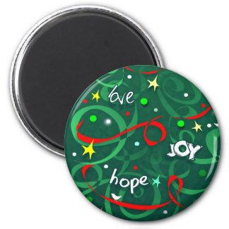 Magnet Round - Love Joy Hope Christmas