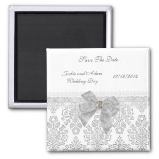 Magnet Save The Date Wedding Damask White
