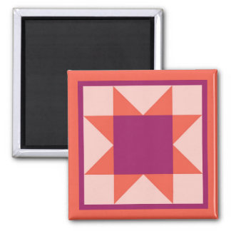 Magnet - Sawtooth Star Quilt Square (orange/pink)