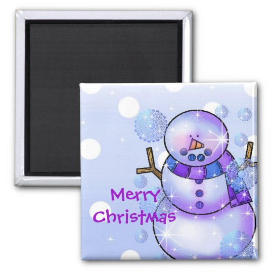 Magnet-Snowman Happy Holidays Christmas Square Magnet