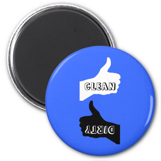 Magnet- Thumbs Up/Down Dishes- Colour/Font Choice 6 Cm Round Magnet