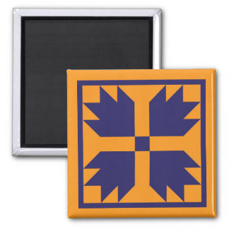 Magnet - UC Bear Paw Quilt Block (blue on gold)