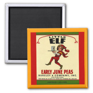MAGNET VINTAGE Little Elf early June peas label