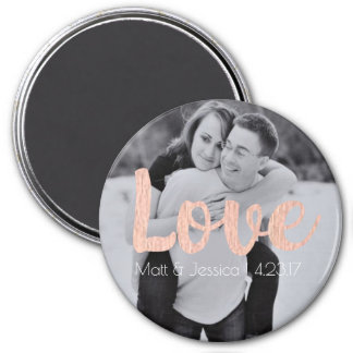 Magnet Wedding Favor with Photo- Rose Gold Design
