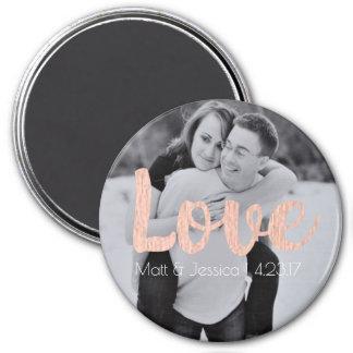 Magnet Wedding Favor with Photo- Rose Gold Design